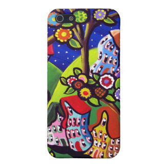 Whimsical Houses Trees Blossoms iPhone Cover iPhone 5 Cover