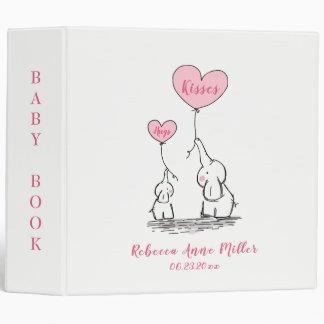 Whimsical Hugs And Kisses Elephants Baby Book Binder