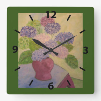 Whimsical Hydrangea Square Wall Clock