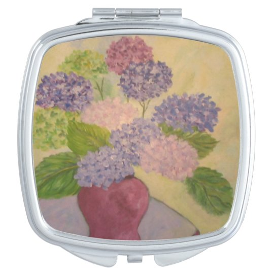 Whimsical Hydrangea Travel Mirrors