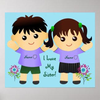 "Whimsical ""I Love My Sister"" Names Poster"