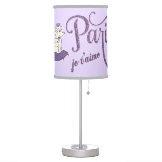 Whimsical I Love Paris Purple Glitter Lamp Shade