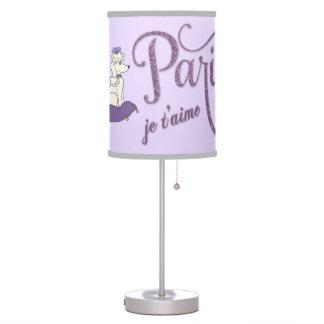 Whimsical I Love Paris Purple Glitter Lamp Shade