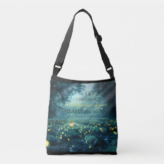 Whimsical Inspiring Dreams Quote Crossbody Bag