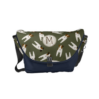 Whimsical Jack Russell Terriers pattern monogram Commuter Bag