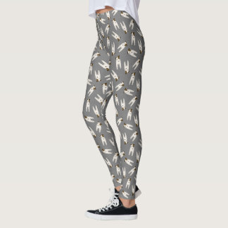 Whimsical Jack Russell Terriers patterned gray Leggings