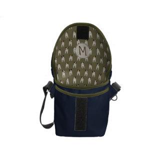 Whimsical Jack Russells navy olive monogrammed Courier Bag