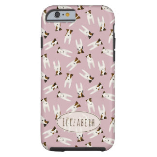 Whimsical Jack Russells pattern with name pink Tough iPhone 6 Case