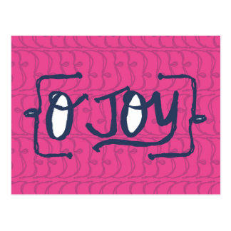 whimsical Joy in Pink and navy blue patterned Postcard