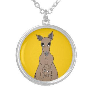 whimsical kangaroo round pendant necklace