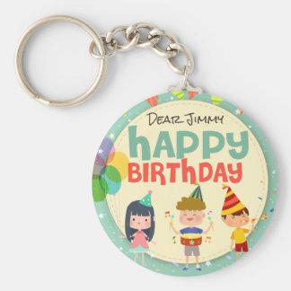 Whimsical Kids Illustration Happy Birthday Party Basic Round Button Keychain