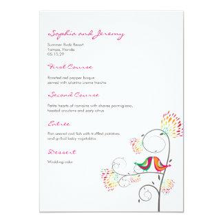 Whimsical Kissing Summer Birds Wedding Menu Card