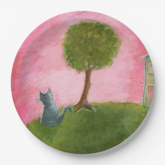 Whimsical Kitty Cat Folk Art Painting Pink Sky 9 Inch Paper Plate