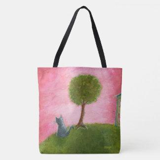 Whimsical Kitty Cat Folk Art Painting Pink Sky Tote Bag