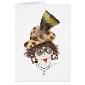 Whimsical Lady with the Right Hat Note Card