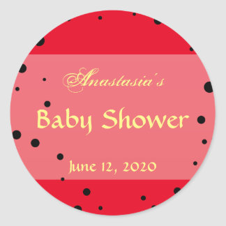 Whimsical Ladybug Baby Shower Invitation Red Black Classic Round Sticker