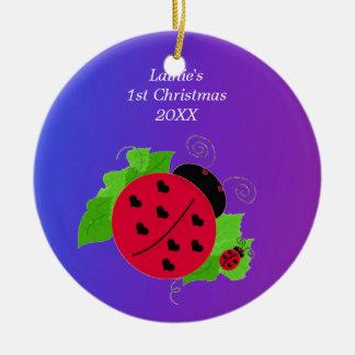 Whimsical Ladybug Baby's 1st Christmas Ceramic Ornament