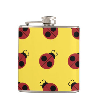Whimsical Ladybug Fun Pattern Colorful Flask