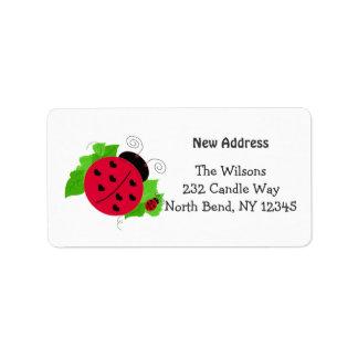 Whimsical Ladybug New Address Label
