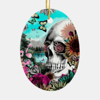 Whimsical Landscape skull with florals Ceramic Ornament