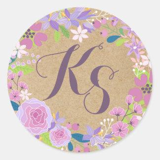 Whimsical Lavender Floral Kraft Paper Monogram Classic Round Sticker