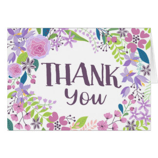 Whimsical Lavender Floral Thank You Card