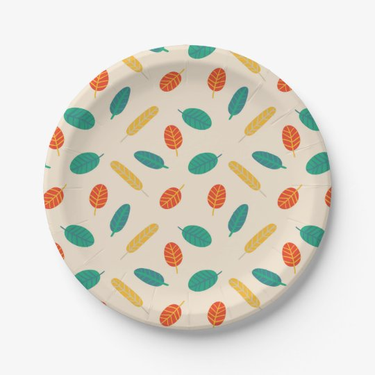Whimsical Leaf Pattern Paper Plates 7 Inch Paper Plate