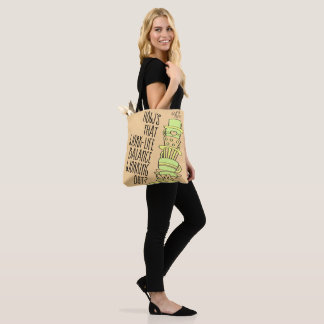Whimsical Leaning Coffee Cup Stack Tote Bag