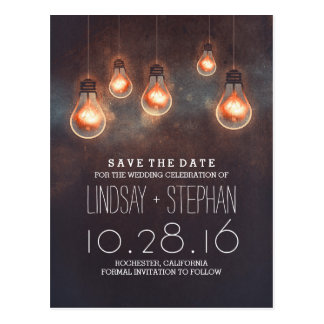 whimsical lights dreamy romantic save the date postcard