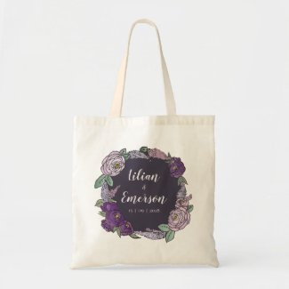 Whimsical Lilac & Lavender Floral Wedding Tote