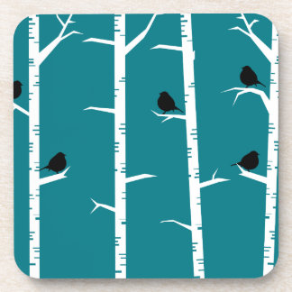 Whimsical Little Black Birds and White Birch Trees Beverage Coasters