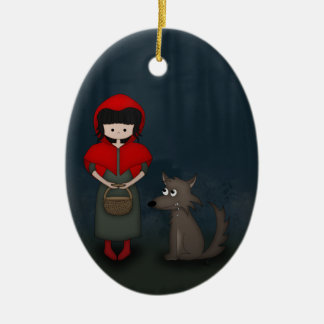 Whimsical Little Red Riding Hood Girl and Wolf Ceramic Oval Ornament