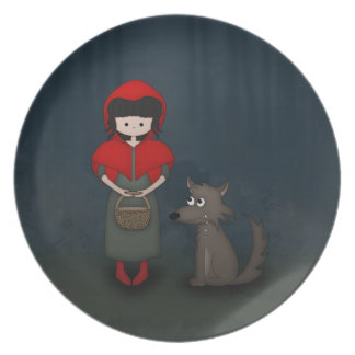 Whimsical Little Red Riding Hood Girl and Wolf Dinner Plate