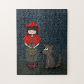 Whimsical Little Red Riding Hood Girl and Wolf Jigsaw Puzzle