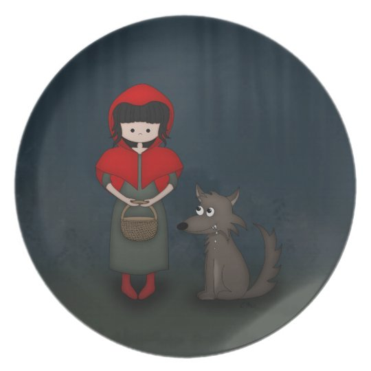 Whimsical Little Red Riding Hood Girl and Wolf Plate