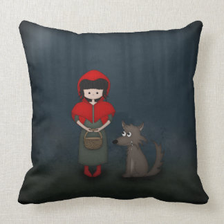 Whimsical Little Red Riding Hood Girl and Wolf Throw Pillow