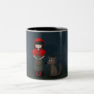 Whimsical Little Red Riding Hood Girl and Wolf Two-Tone Coffee Mug