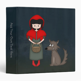 Whimsical Little Red Riding Hood Girl and Wolf Vinyl Binders