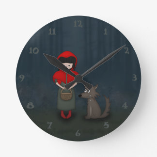 Whimsical Little Red Riding Hood Girl and Wolf Wallclock