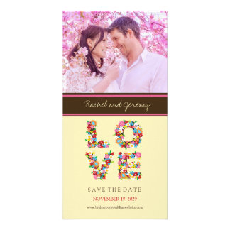 Whimsical LOVE Spring Flowers Photo Save The Date Personalized Photo Card