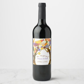 Whimsical Love Trees Wedding Wine Label