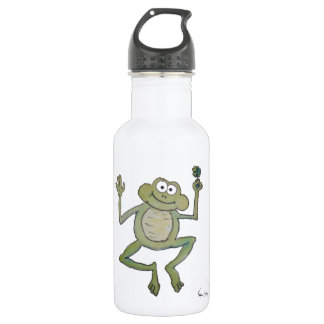 Whimsical Lucky Jumping Happy Frog Clover Patrick