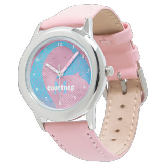 Whimsical Mermaid Pink Personalized Girls Watch