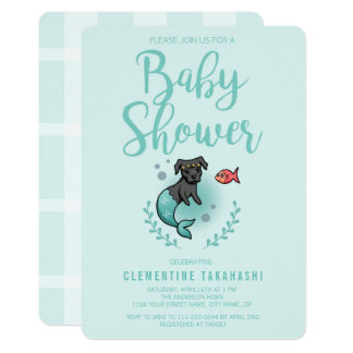 Whimsical Mermaid Pit Bull | Baby Shower Mint Card