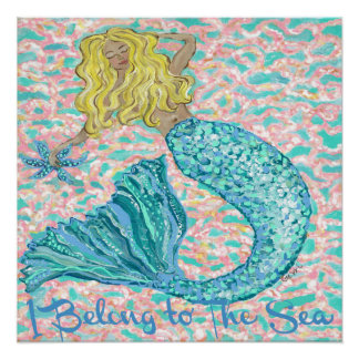 """Whimsical Mermaid Poster, 20 x 20"""" Poster"""