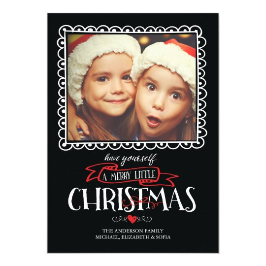 Whimsical Merry Little Christmas Photo Card