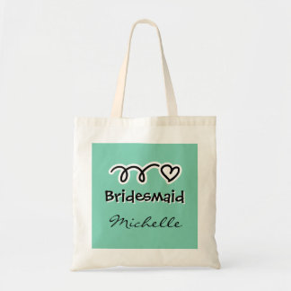 Whimsical mint bridesmaid tote bag with cute heart