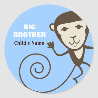 Whimsical Monkey Big Brother Round Sticker