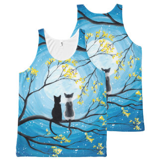 Whimsical Moon with Cats All-Over-Print Tank Top