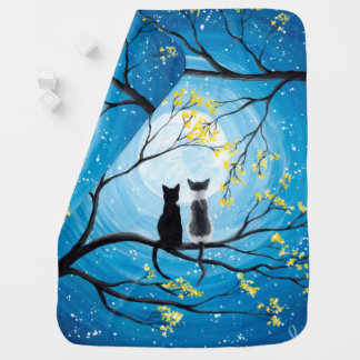 Whimsical Moon with Cats Baby Blanket